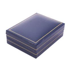 Fülbevalós, medálos, szettes doboz - Kék műbőr arany csíkkal