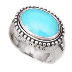 Ezüst Gyűrű Türkiz Drágakővel és Egészség Felirattal
