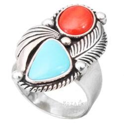 Ezüst Gyűrű Türkizzel és Korállal