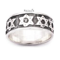 Ezüst Gyűrű Dávid Csillag Mintával
