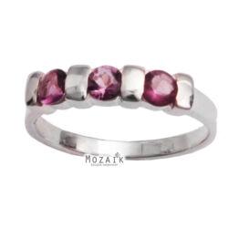 Ezüst Gyűrű Lila Kristálykövekkel