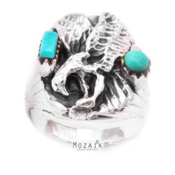 Ezüst Sas Gyűrű Türkizzel