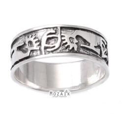 Ezüst Gyűrű Kokopelli Mintával