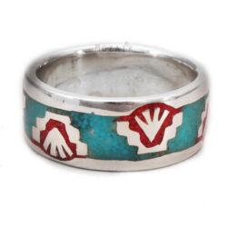Ezüst Gyűrű Türkiz és Korál Intarziával