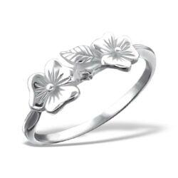 Sterling Ezüst Gyűrű Virágokkal
