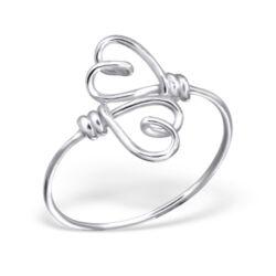 Sterling Ezüst Gyűrű Dupla Szívvel