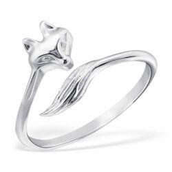 Sterling Ezüst Nyitott Gyűrű Rókafejjel