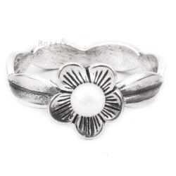 Ezüst Virág Gyűrű Igazgyönggyel