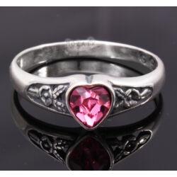 Ezüst Gyűrű Rózsaszín Swarovski Kristállyal