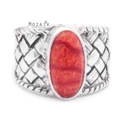 Fonott Ezüst Gyűrű Korállal