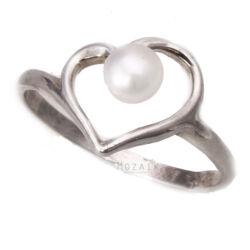 Ezüst Szív Gyűrű Igazgyönggyel
