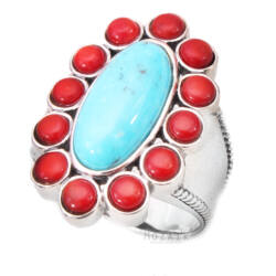 Ezüst Gyűrű Türkiz és Korál Drágakővel
