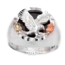 Ezüst és 12K Arany Gyűrű Sassal és Ónixszal