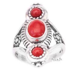 Ezüst Gyűrű Korál Drágakövekkel
