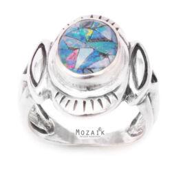 Ezüst Gyűrű Opál Drágakő-Intarziával