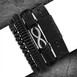 Divatos Fekete Bőr Karkötő Szett