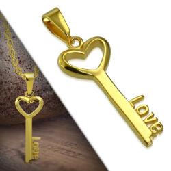 Nemesacél Szíves Kulcs Medál Aranyszínű Bevonattal