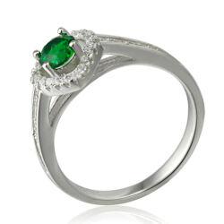 Sterling Ezüst Gyűrű Zöld és Fehér Cirkóniával