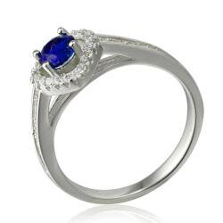 Sterling Ezüst Gyűrű Kék és Fehér Cirkóniával