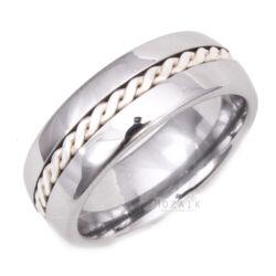 Volfrámacél Karikagyűrű Ezüst Díszítéssel