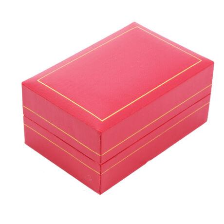 Dupla gyűrűs doboz - Piros műbőr arany csíkkal
