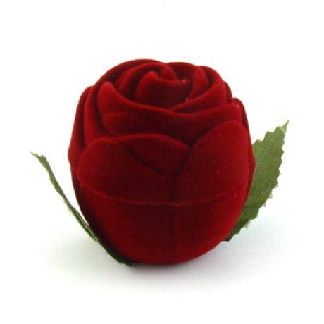 Gyűrűs doboz - Piros rózsa levéllel