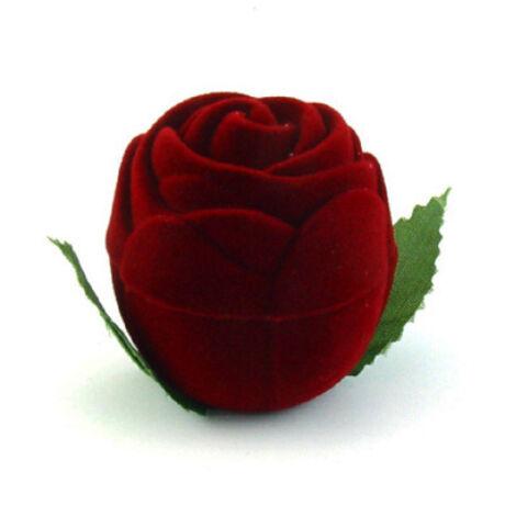 Gyűrűs doboz - Bordó rózsa levéllel