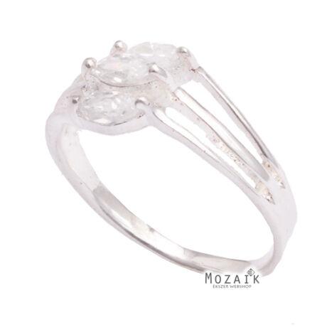 Ezüst Gyűrű Fehér Kristálykövekkel