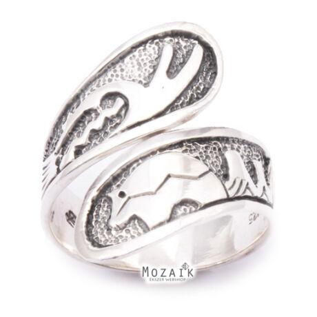 Ezüst Indián Mintás Csavart Gyűrű