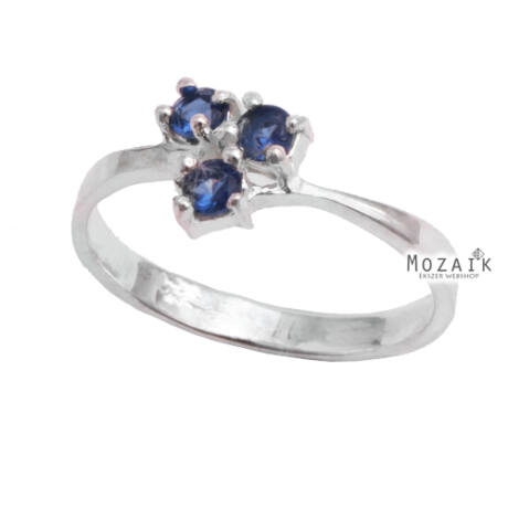Ezüst Gyűrű Kék Cirkónia Kővel