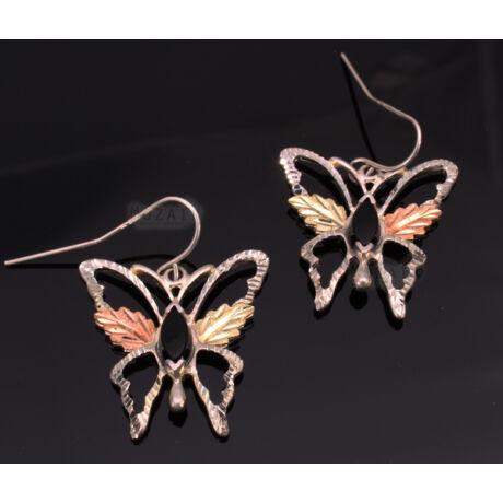 Ezüst és 12K Arany Pillangó Fülbevaló