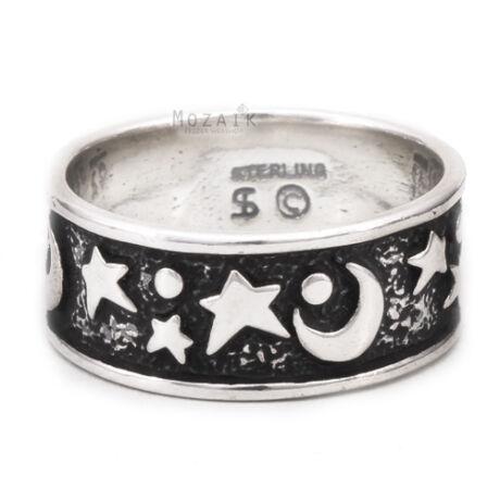 Ezüst Karika Gyűrű Csillaggal és Holddal