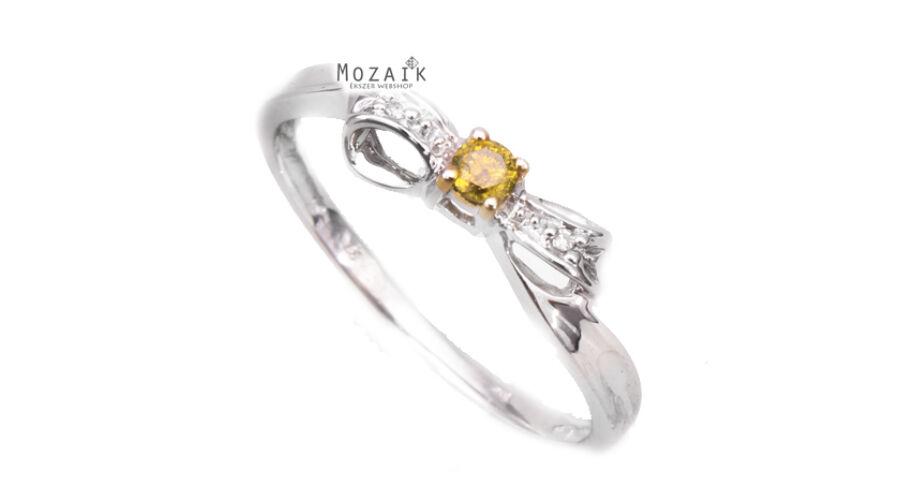 b25dacdf87 Fehér Arany Gyűrű Sárga Gyémánt Drágakővel - ARANY ÉKSZEREK - Mozaik ...