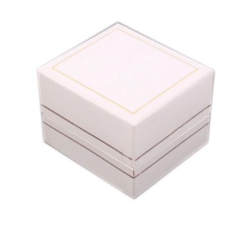 Gyűrűs doboz - Fehér műbőr arany csíkkal