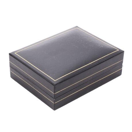 Fülbevalós, medálos, szettes doboz - Fekete műbőr arany csíkkal