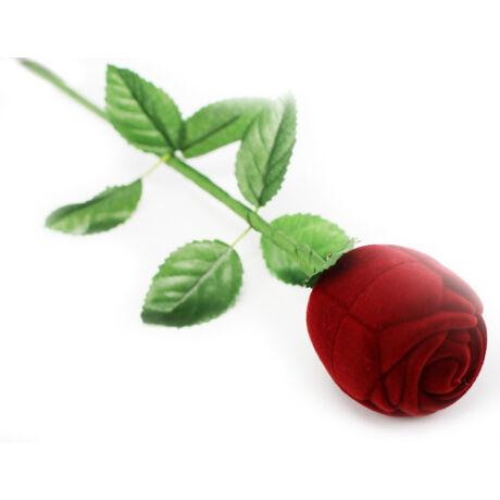 Bordó rózsaszál gyűrűs doboz