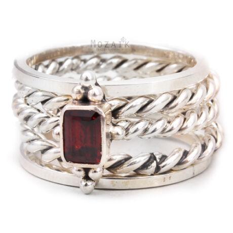 Ezüst 5 Darabos Gyűrű Szett Gránát Drágakővel