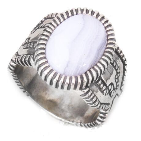 Ezüst Gyűrű Eredeti Kék Acháttal