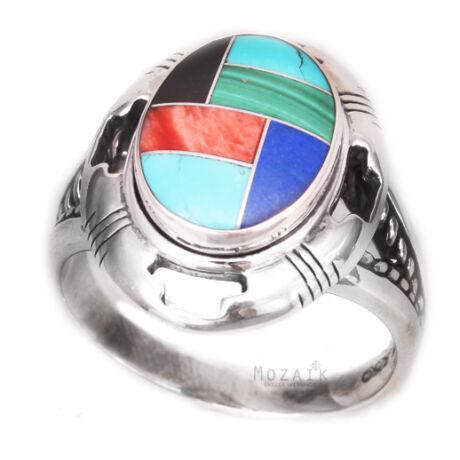 Ezüst Gyűrű Drágakő Intarziával