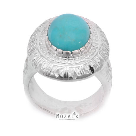 Ezüst Indián Stílusú Gyűrű Türkizzel