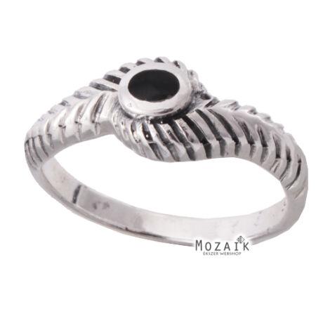 Ezüst Gyűrű Fekete Kővel
