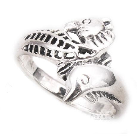 Ezüst Gyűrű Vizicsikóval és Delfinnel
