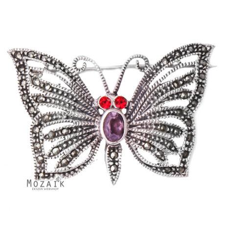 Ezüst Pillangó Kitűző Markazit, Ametiszt és Cirkónia Kövekkel