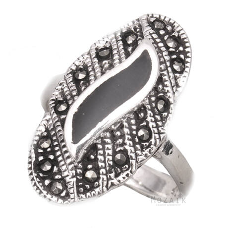 Ezüst Gyűrű Ónix és Markazit Kövekkel