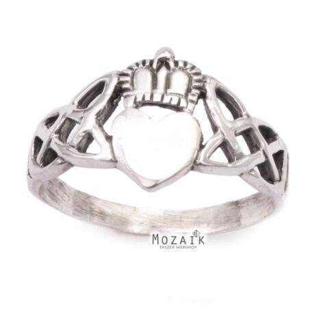 """Fonott Ezüst Gyűrű """"Szív Koronával"""""""
