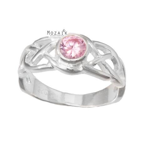 Ezüst Gyűrű Rózsaszín Cirkónia Kővel