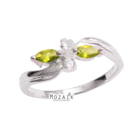 Ezüst Gyűrű Zöld Cirkóniával