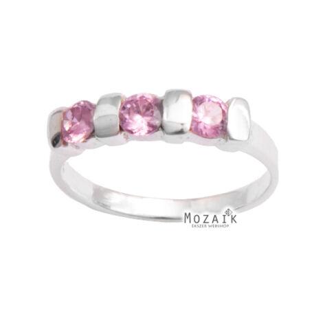 Ezüst Gyűrű Rózsaszín Kristálykövekkel