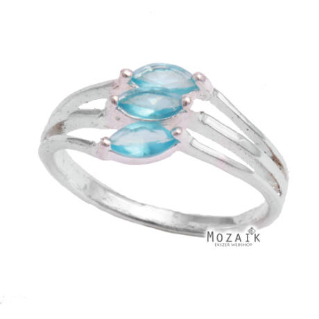 Ezüst Gyűrű Világoskék Cirkóniával
