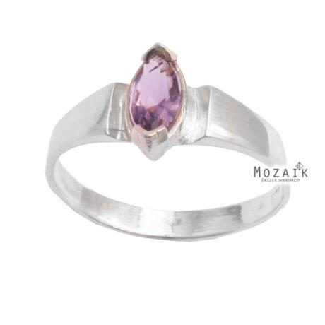 Ezüst Gyűrű Rózsaszín Kristálykővel